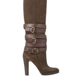$239 NINE WEST brown Izettr buckle suede boot 6 M